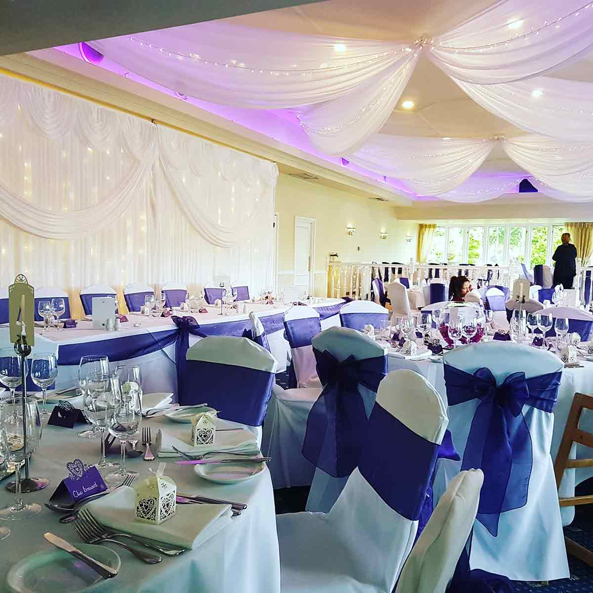 white drapery and chairs - Wedding drapery London and Surrey