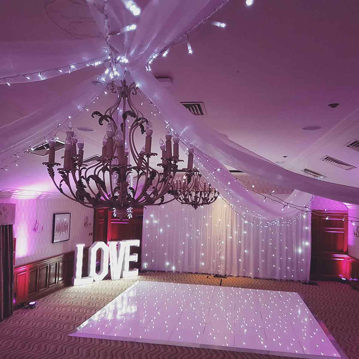 Wedding Backdrops London and Surrey white drapery & illuminated letters