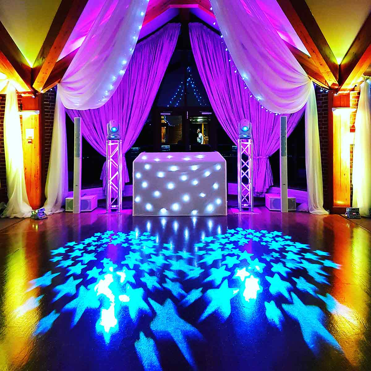 DJ and Ceiling Drape Hire, London, Surrey, South East colourful stars