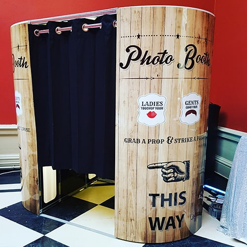 Photobooth hire Surrey and London wood effect photo booth